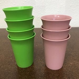 Other - Tupperware Bell Tumblers Lot Of 7 Green & Pink